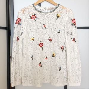 Lace floral embroidered top